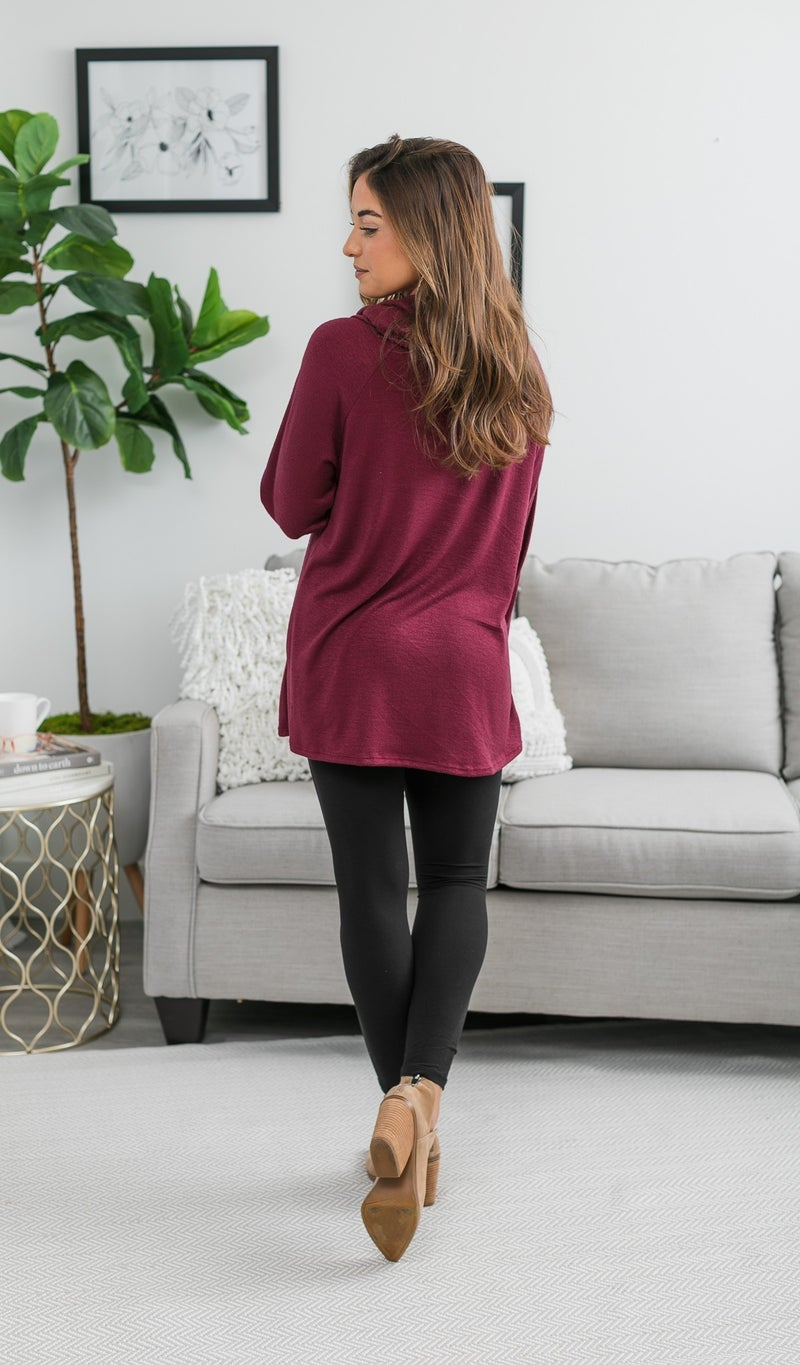 Colby Cowl Neck Tunic, Burgundy