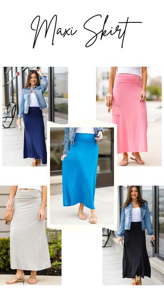 Paradise Bay Maxi Skirt, Teal, Coral, Grey, Black, Or Navy