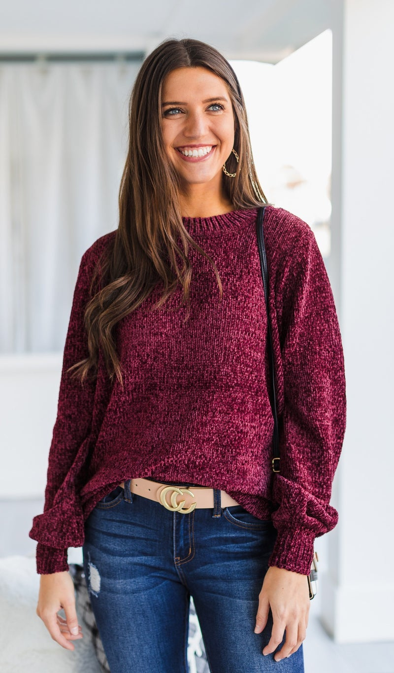 Cozy All Day Sweater, Burgundy