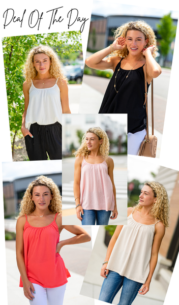 Here Comes The Sun Tank, Black, Ivory, Taupe, Coral, Or Blush