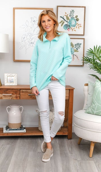 Brush With Fate  Pullover, Mint