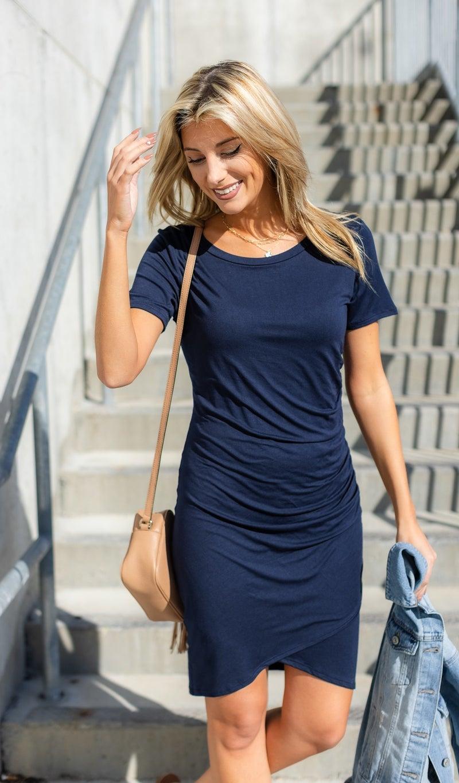 The Jena Short Sleeve Dress, Navy