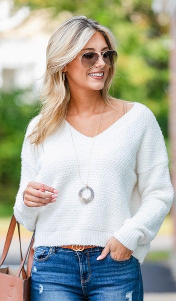 Warm And Cozy Knit Sweater, Hazelnut or Cream