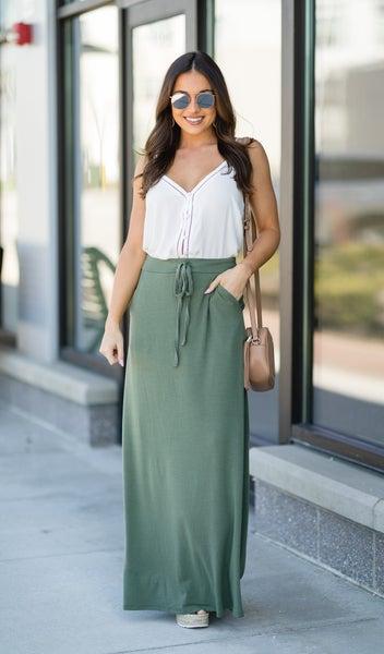 Daisy Maxi Skirt, Light Olive