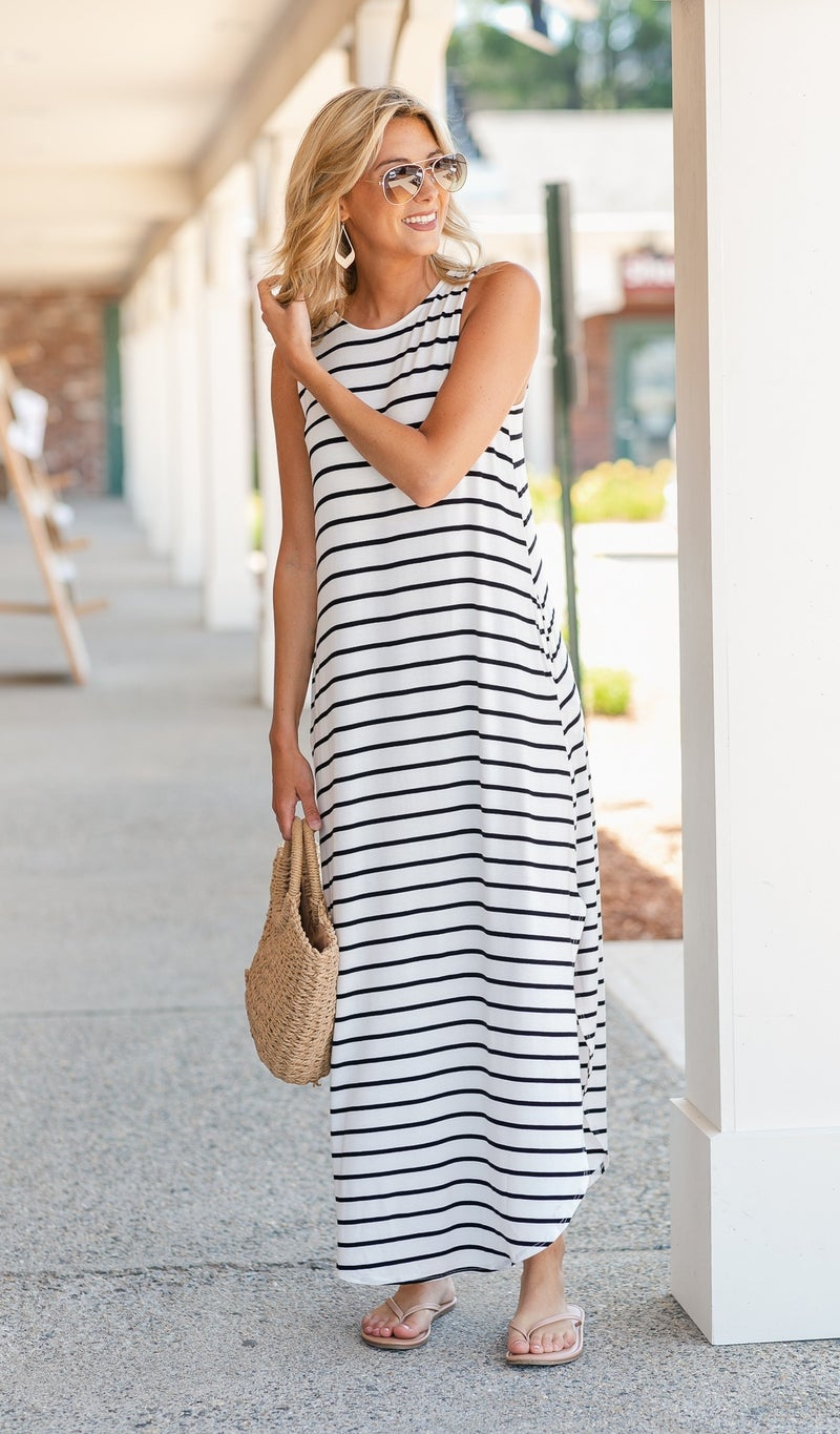 Take Me With You Striped Maxi, Ivory