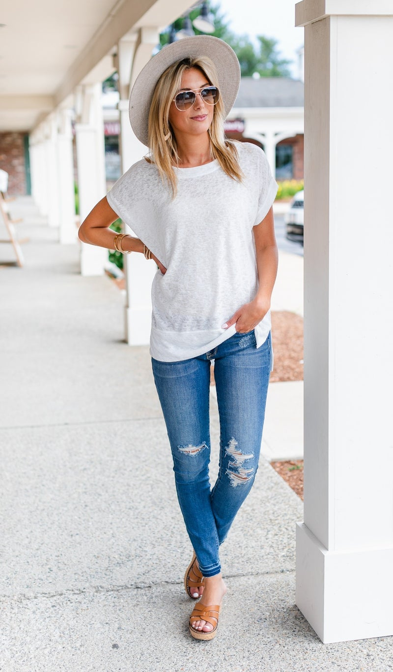 Sea Breeze Top, Blue or Ivory