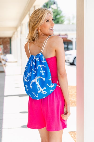 Beachside Backpack/Towel, Blue Anchor Print