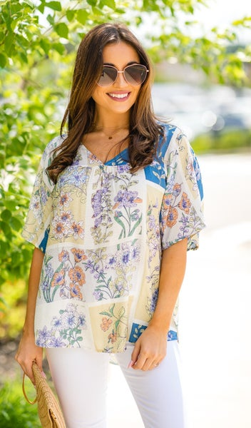 Fields of Forever Top, Mix print