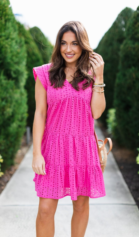 The Candace Dress, Hot Pink