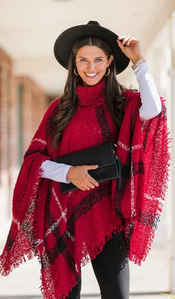 The Olivia Plaid Poncho in Red