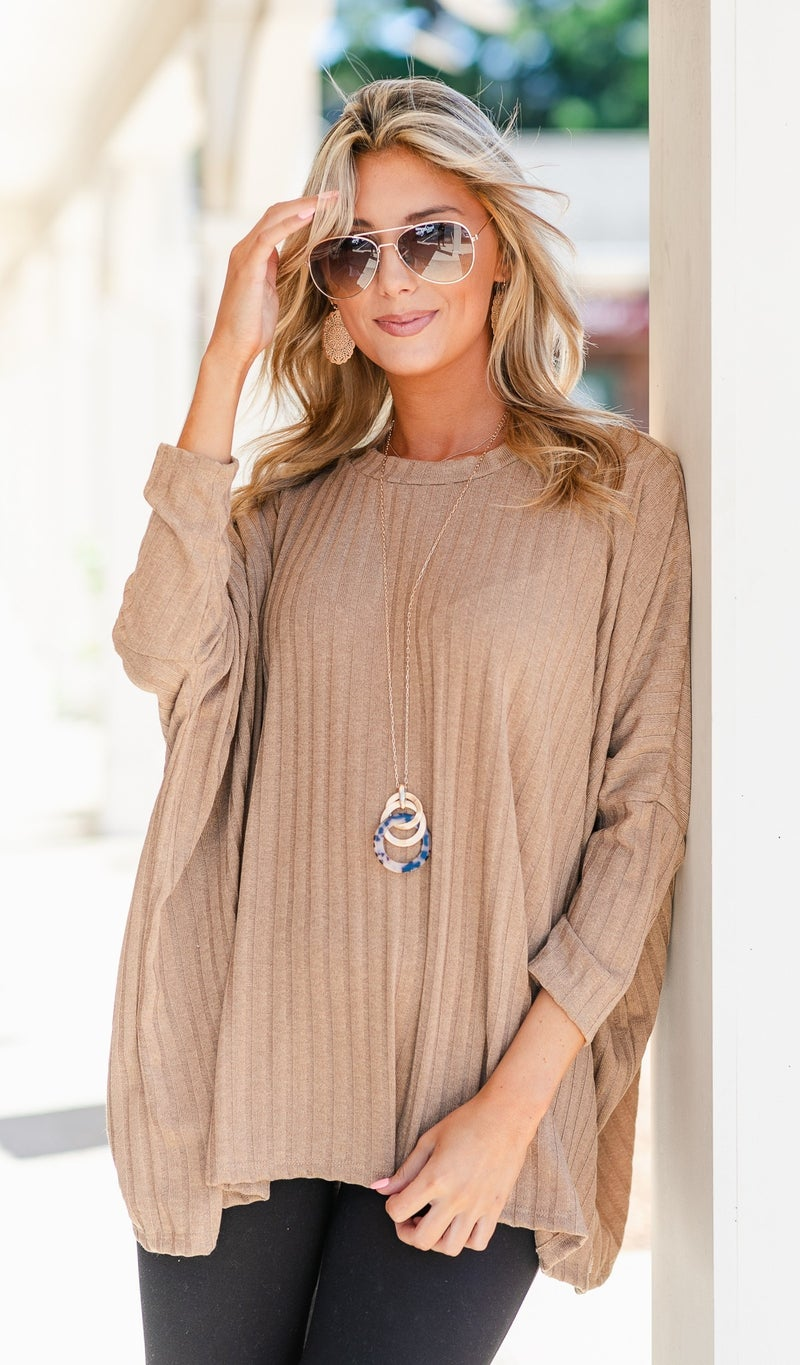 Marcella ribbed Knit Tunic, Navy, Ivory or Camel