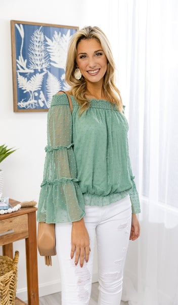 The Swiss Dot Top, Sage