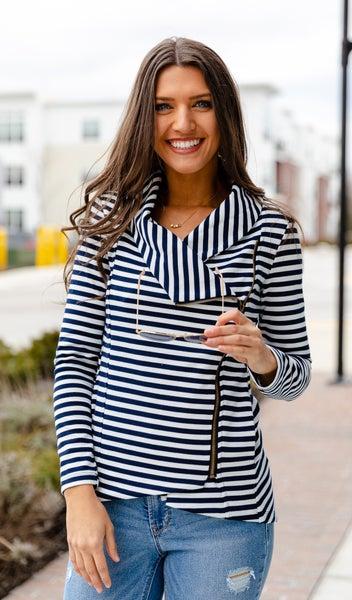 The Laila Side Zip Jacket,  Navy/White