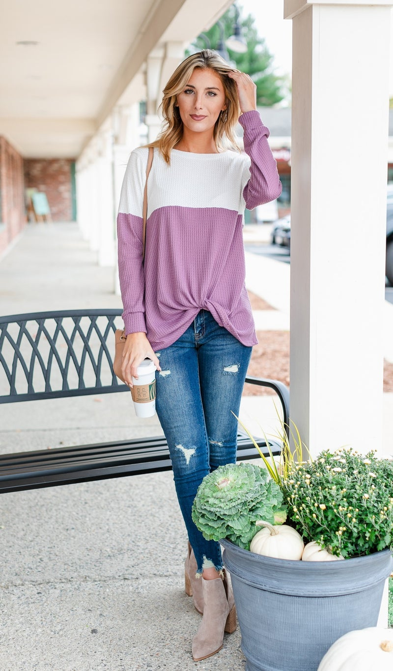 Vail Thermal Color Block Top, Blue or Plum