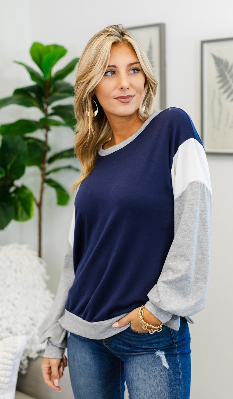 Here For Color Block Top, Pink or Navy