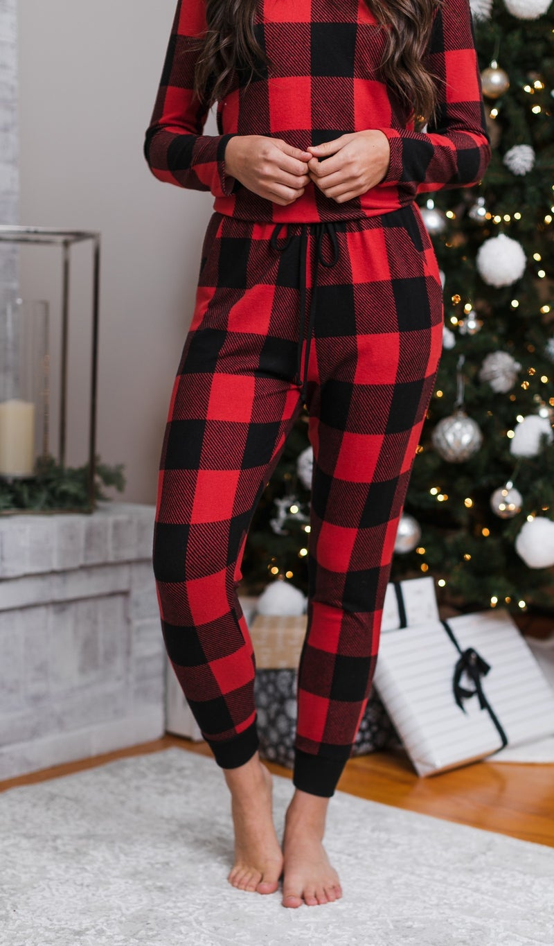 The Holly Plaid Jogger, Red/Black