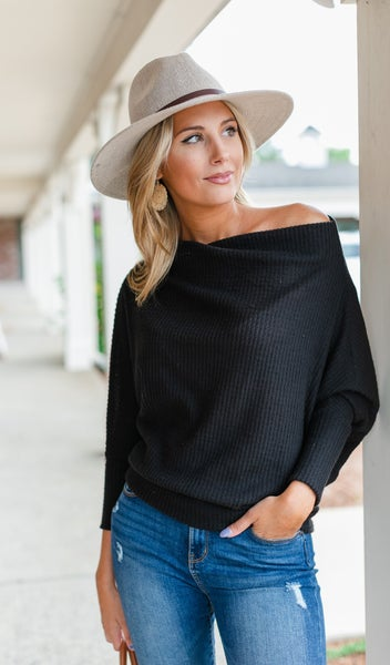 Beverly Knit Top, Black or Taupe