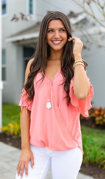 Dreaming Of Date Night Top, Coral