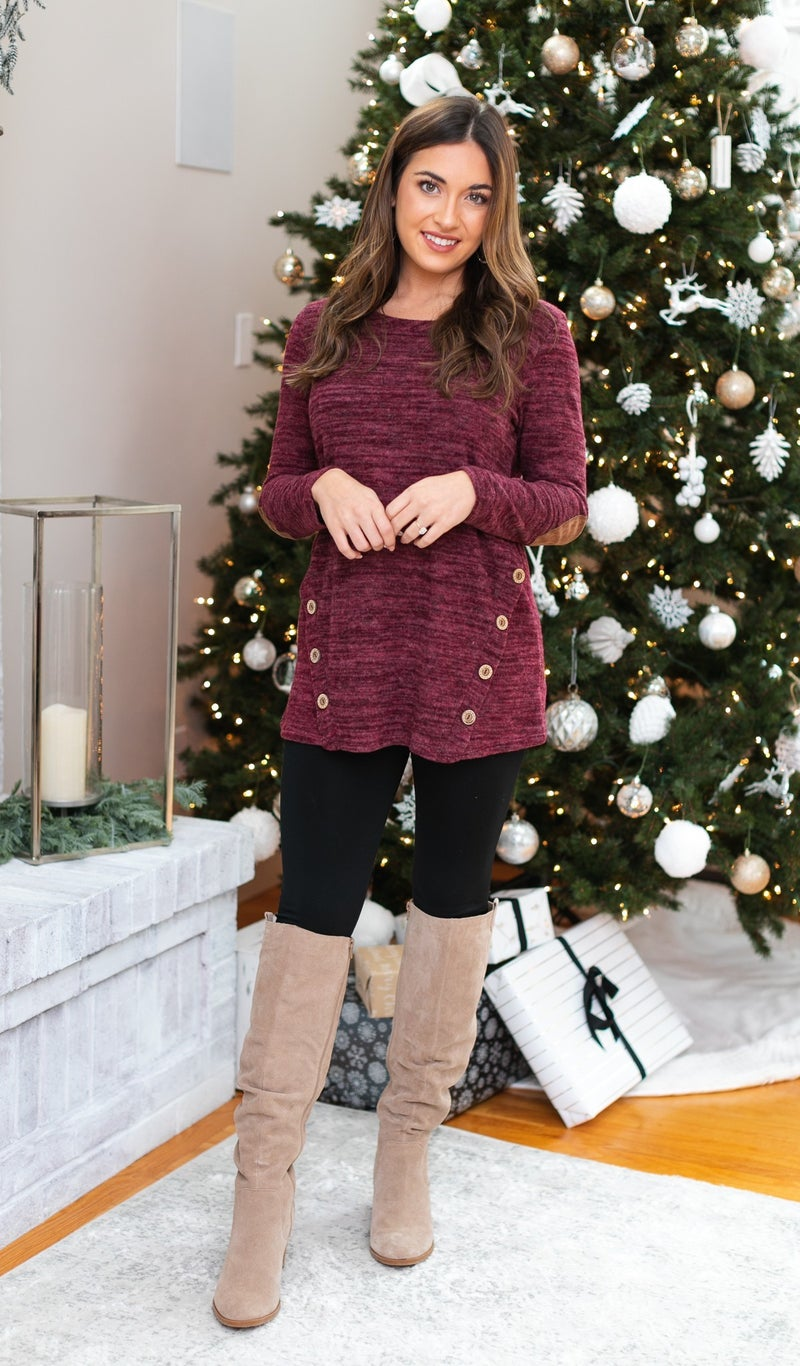 DOORBUSTER!!  Emerson Knit Tunic, Burgundy