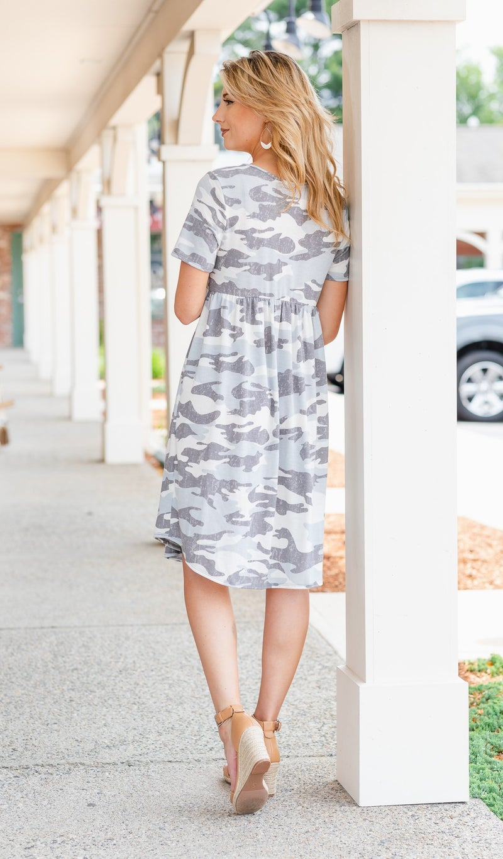 Avalon Dress, Grey Camo
