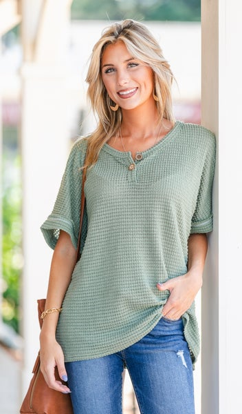 Staple Waffle Knit Top, Olive