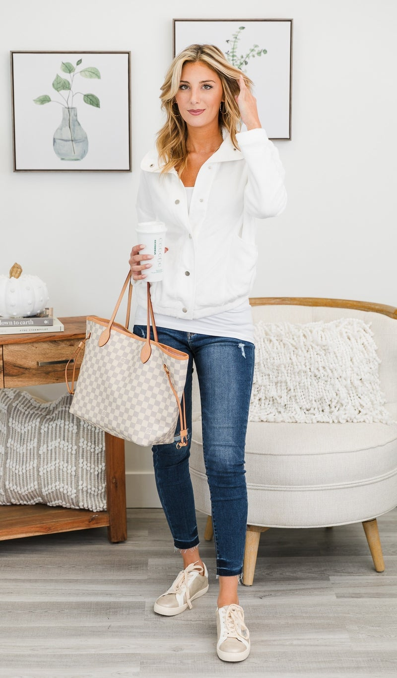 Easy Snap Faux Sherpa Jacket, Ivory