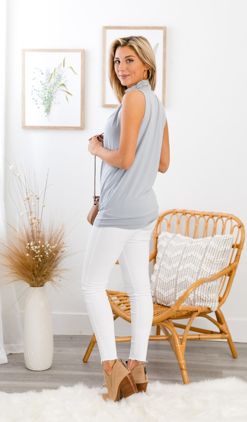 All or Nothing MOCK NECK Tank, Grey, Mint or White
