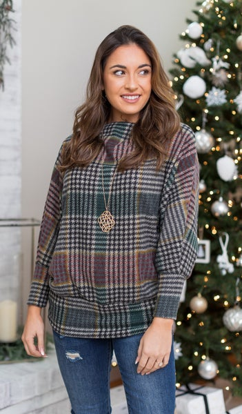 Holidays In New England Top, Red & Green