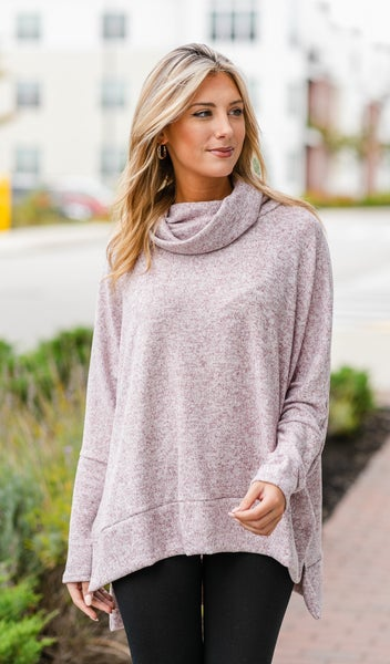 Fall Feelings Tunic Top  Burgundy