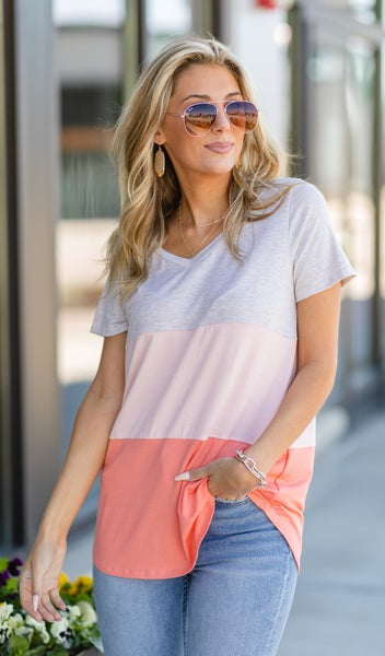 Spring Happiness Tee, Peach