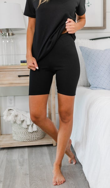 Lounge Away Biker Shorts, Black
