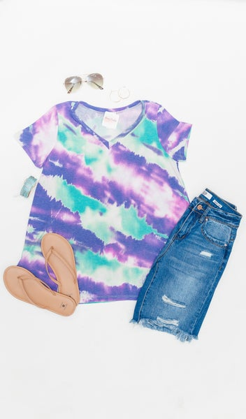 Tides Side Tee, Purple Tie Dye