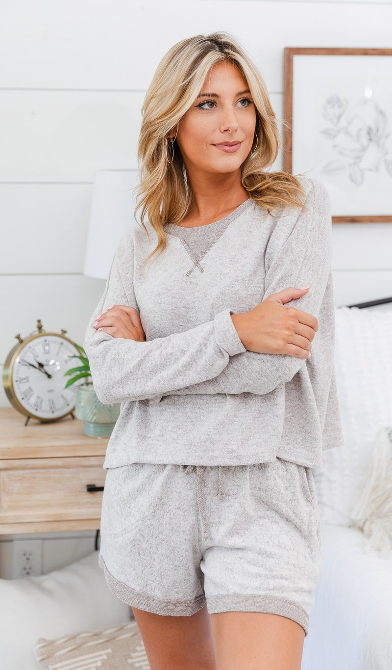 Cozy Brushed Knit Long Sleeve, Grey, Burgundy or Taupe