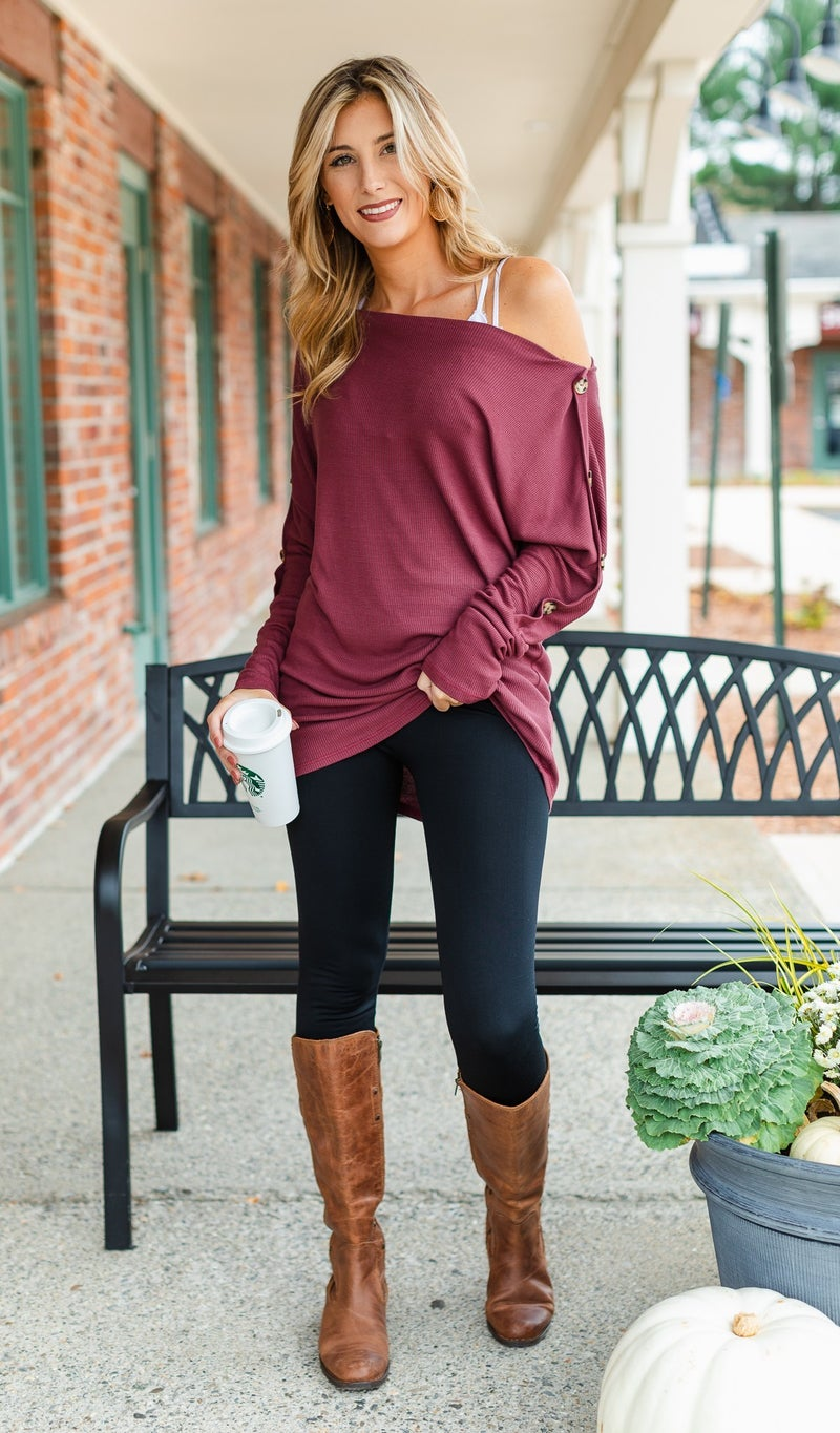 Finding My Way Top, Charcoal or Marsala