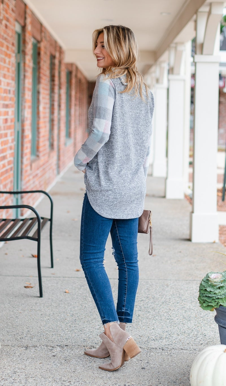 Living In Comfort Top, Grey/BluePlaid