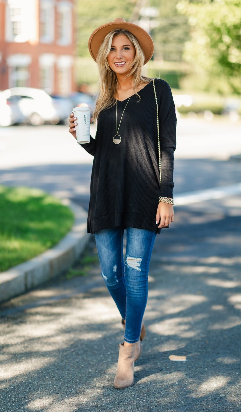 Feeling Fall Top, Black