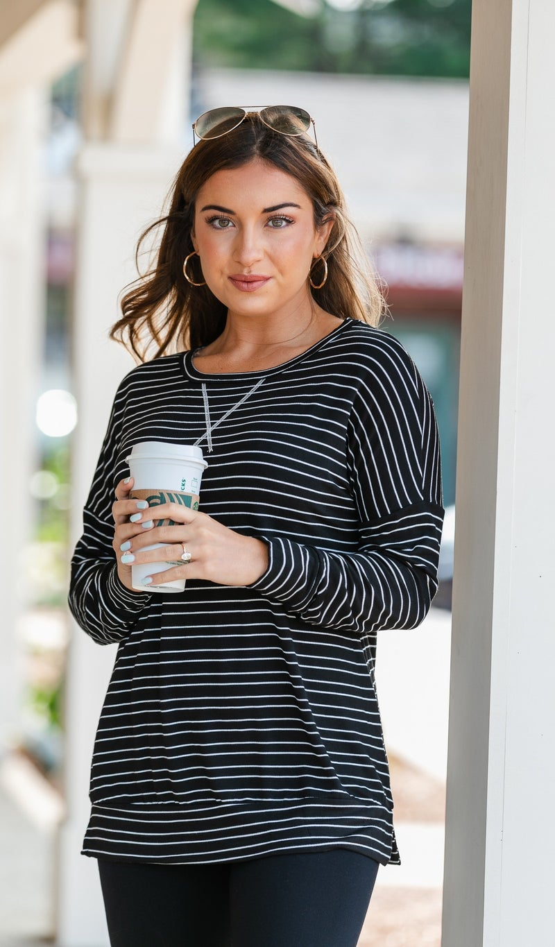 Living For Fall Top, Charcoal or Grey