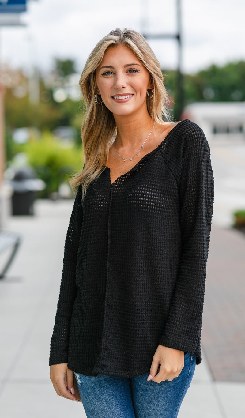Whistler Waffle Knit Top, Cinnamon or Black