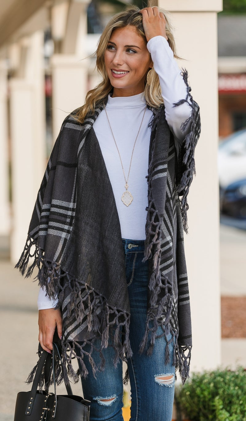 The Abbey Shawl/Vest, Charcoal