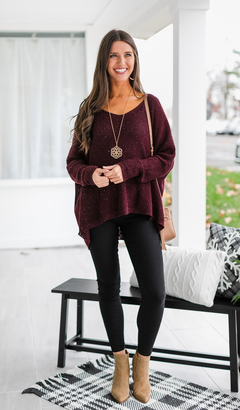 Take Me With You Knit Sweater, Plum