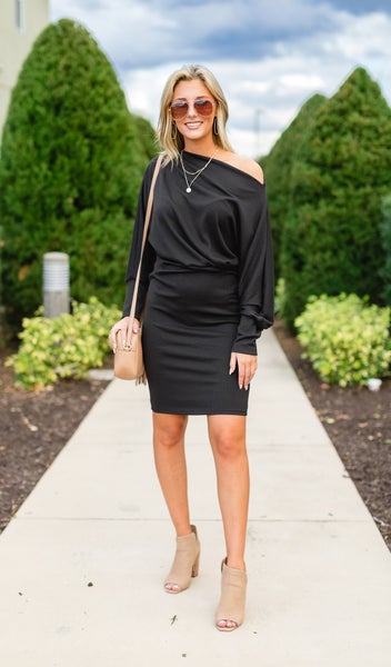 The Hailee Ribbed Knit Dress, Black