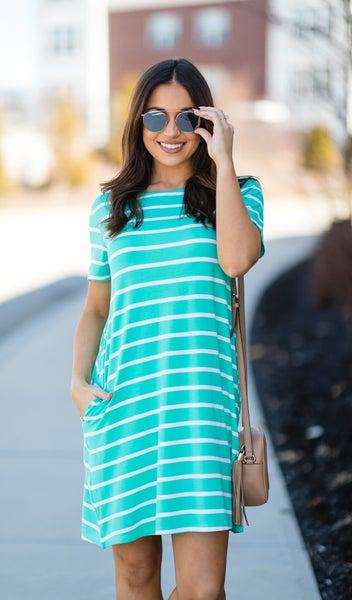 Sunsational Striped Dress, Seafoam