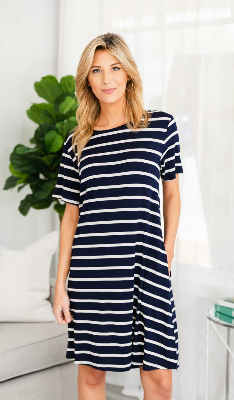 Sunsational Striped Dress, Navy