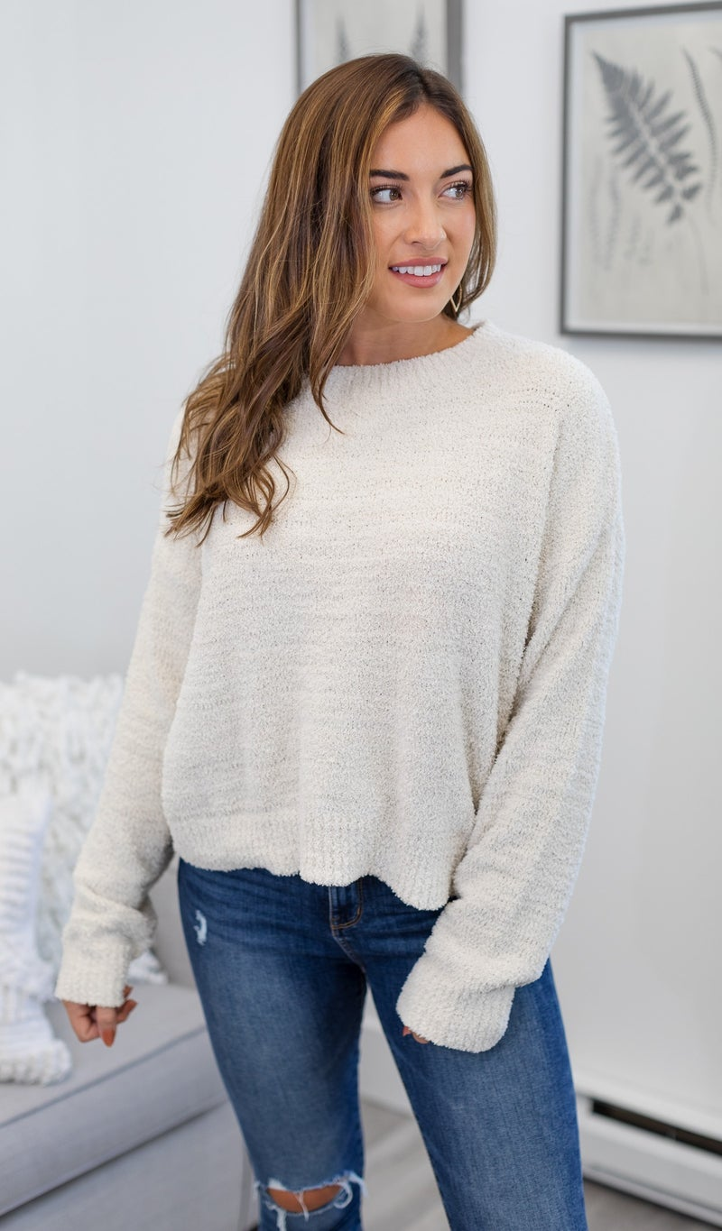 The Emilia Sweater, Ruby or Ivory *Final Sale*