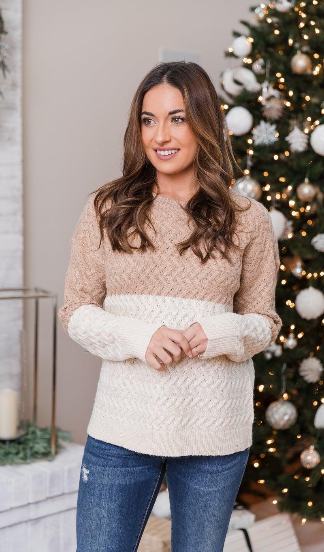 Sidewalk Chic Sweater, Oatmeal/White