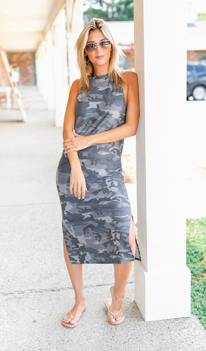 The Camo Midi Dress, Grey