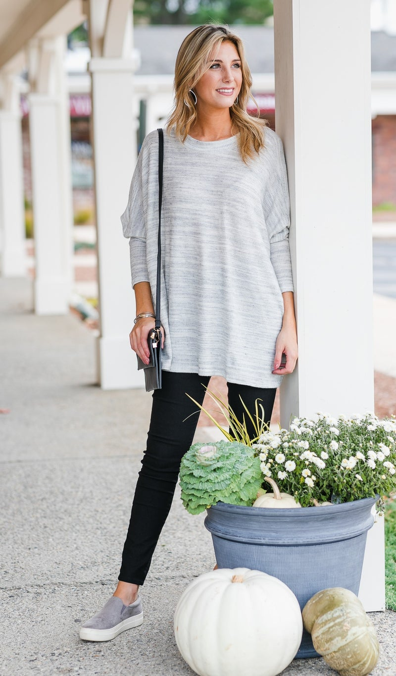 Always Find Comfort Tunic, Heathered Grey