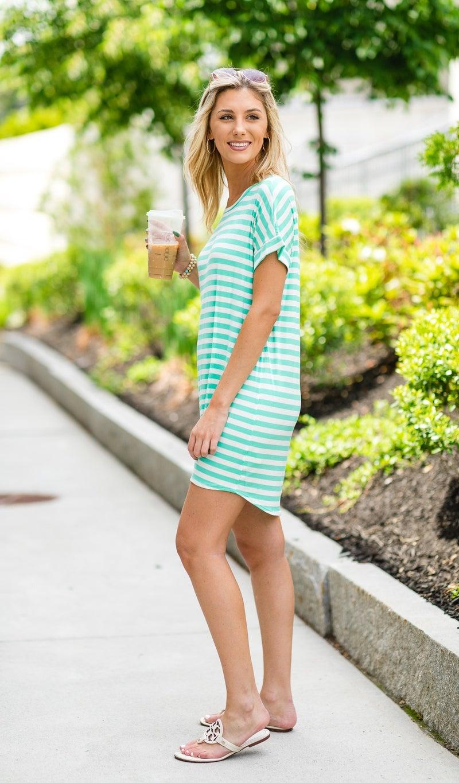 Striped Tie Dress, Mint
