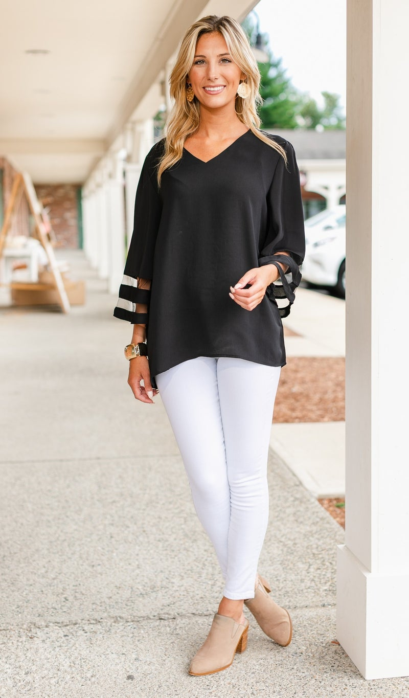 Picture Perfect Blouse, Black or Sand