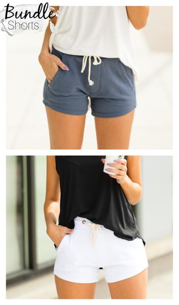 The Sophia Shorts BUNDLE, White & Deep Blue